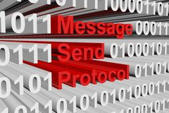Message send protocol. In the form of binary code, 3D illustration Stock Photo