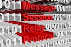 Message Session Relay Protocol. In the form of binary code, 3D illustration Royalty Free Stock Image