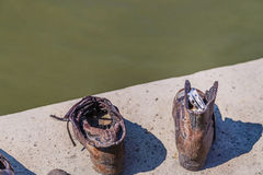 Message on shoe on the Danube promenade Stock Photos