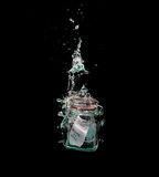 Message in sinking bottle Royalty Free Stock Photography