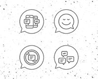 Message, Smile speech bubble and Communication. Speech bubbles with signs. Message, Smile speech bubble and Communication line icons. Group chat, Conversation royalty free illustration