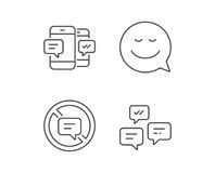 Message, Smile speech bubble and Communication. Message, Smile speech bubble and Communication line icons. Group chat, Conversation and SMS signs. Stop talking stock illustration