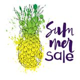 Message summer sale and the pineapple with watercolor. Abstact background. Hand lettring isolated. It is a hand drawn. text in modern style for banner, logo royalty free illustration