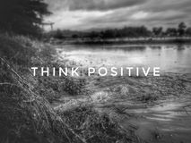Message and symbol of Think Positive stock photography