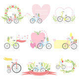 Message Template Set With Bicycles And Hearts. Detailed Cute Vector Design Cards On White Background Royalty Free Stock Photos