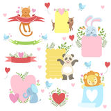 Message Template Set With Cute Animals. Detailed Cute Vector Design Cards On White Background Royalty Free Stock Photos