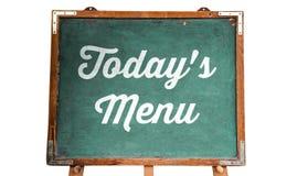 """Message textuel blanc de  de Menu†d'""""Today's de restaurant écrit sur un tableau de vieux vintage sale vert ou un tableau n Photo stock"""