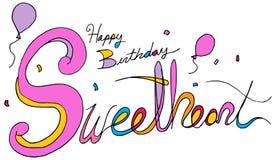 Message textuel de confettis de ballon d'amoureux de joyeux anniversaire illustration stock