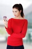 Message textuel de lecture de femme Photo libre de droits
