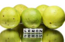 Message textuel sur des citrons Images libres de droits