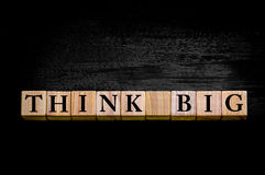 Message THINK BIG  isolated on black background Royalty Free Stock Photography