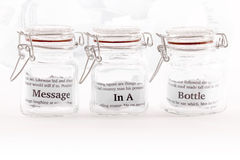 Message in three jars Stock Photography