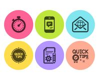 Message, Timer and Web mail icons set. Tips, Documentation and Quick tips signs. Vector. Message, Timer and Web mail icons simple set. Tips, Documentation and royalty free illustration