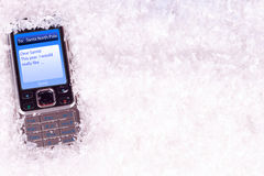 Message to Santa North Pole. Mobile phone with message to Santa North Pole Stock Photos
