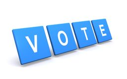 Message to use your vote. Message with the word 'vote' in upper case with each letter in white on a blue square all isolated on white background Royalty Free Stock Photography