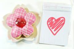 Yummy Donut, lovely notepad Stock Photo