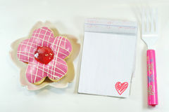 Yummy Donut, lovely notepad royalty free stock images