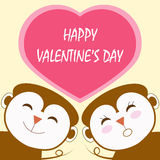 Message of valentine's day with monkey couple Royalty Free Stock Images