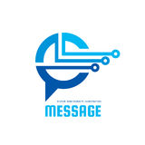 Message - vector logo template concept illustration. Speech bubble creative sign. Internet chat icon. Modern computer technology. Message - vector logo template Vector Illustration