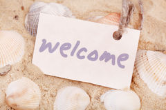 Message Welcome on the sand Stock Images