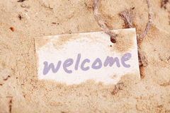 Message Welcome on the sand Royalty Free Stock Image