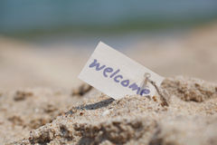 Message Welcome on the sand Royalty Free Stock Photos