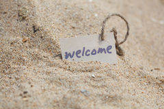 Message Welcome on the sand Stock Photography