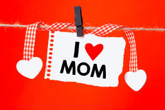 Message written I love mom Stock Images