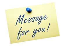Message for you - yellow note paper with text. On white background stock photography