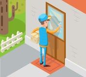 Messager exprès isométrique Cardboard Box Concept d'homme de Special Delivery Boy de messager frappant au mur de porte de client illustration libre de droits