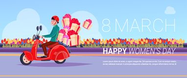 Messager On Scooter Delivery des présents pour la conception créative de fond de carte de voeux de jour international heureux de  Photographie stock