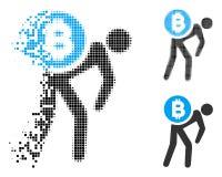 Messager tramé dispersé Man Icon de Pixelated Bitcoin illustration libre de droits