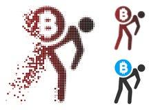 Messager tramé endommagé Man Icon de Bitcoin de pixel illustration de vecteur