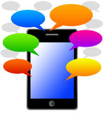 Messages. Sending text messages by phone (copy space inside colorful text balloons Royalty Free Stock Photo
