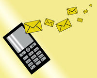 Messages. Picture on a yellow background of the mobile phone sends the message Royalty Free Stock Photos