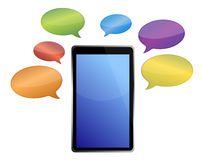 Messages around a tablet Royalty Free Stock Photo