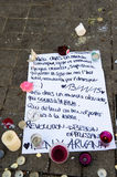Messages, candles and flowers in memorial for the victims Royalty Free Stock Image