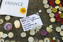 Messages, candles and flowers in memorial for the victims Stock Image