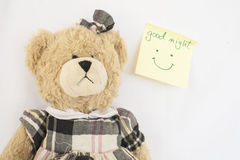 Messages card and teddy bear Royalty Free Stock Images