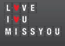 Messages d'amour sur l'aéroport Flip Board Photo stock