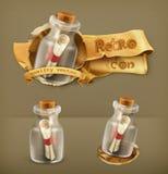 Messages dans des icônes de bouteilles illustration stock