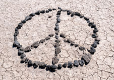 Messages in the desert. Peace sign Royalty Free Stock Image