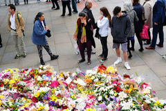 Messages and floral tributes to the victims of the London Bridge terrorist attacks. Floral tributes and messages placed in memory of those who were killed or royalty free stock images