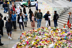 Messages and floral tributes to the victims of the London Bridge terrorist attacks. Floral tributes and messages placed in memory of those who were killed or stock photos