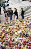 Messages and floral tributes to the victims of the London Bridge terrorist attacks. Floral tributes and messages placed in memory of those who were killed or royalty free stock photos