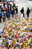 Messages and floral tributes to the victims of the London Bridge terrorist attacks. Floral tributes and messages placed in memory of those who were killed or royalty free stock image
