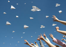 Messages fly on paper airplanes Stock Photography