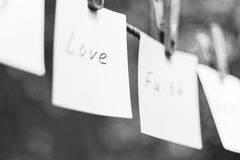 Messages hanging on the clothesline black-white Stock Image