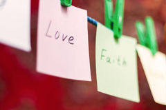 Messages hanging on the clothesline Stock Images