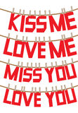 Messages of love and valentines on the clothesline Royalty Free Stock Photos